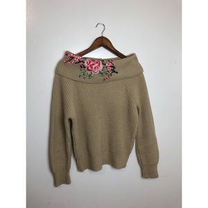 Boohoo Cowl Neck Sweater with Embroidery